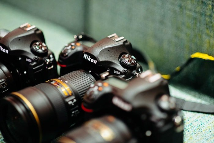 Close up of a DSLR camera - sell used cameras