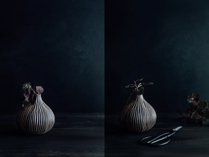 A dark and moody food photography diptych