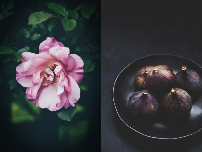 Atmospheric photography print diptych featuring a pink flower and a bowl of figs