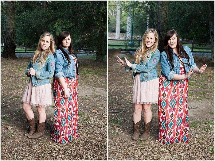 Diptych senior photos of best friends posing outdoors