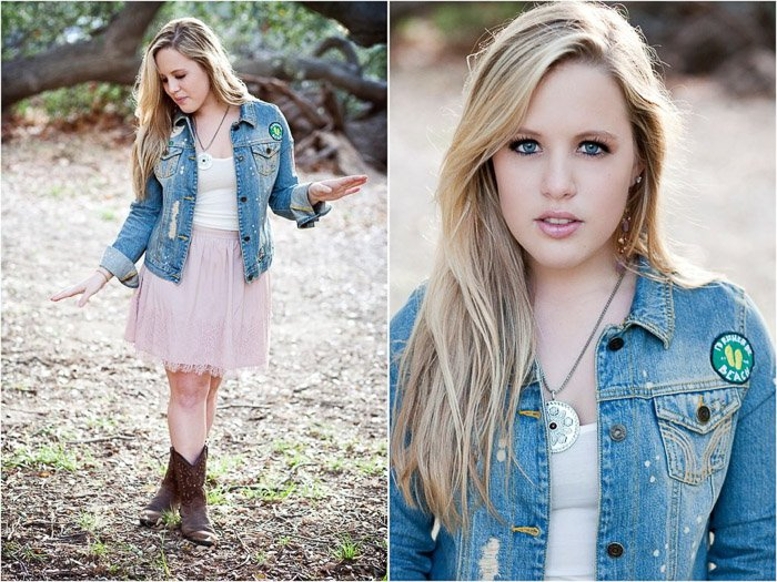 A relaxed and natural senior photography diptych of a blonde girl posing outdoors