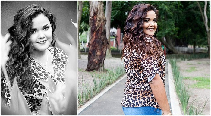 A diptych of a dark haired girl posing outdoors, girl poses ideas for senior photography