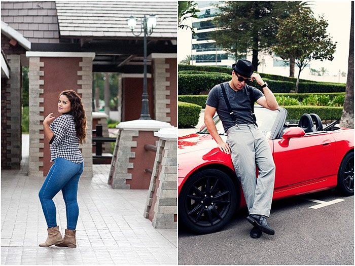 Cool senior photography diptych of a dark haired girl posing in front of a house, and a man posing by a red car
