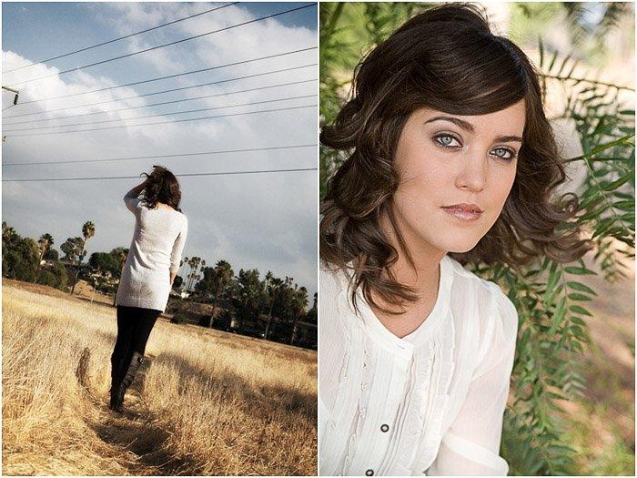 A bright and airy senior portrait diptych of a young woman posing outdoors