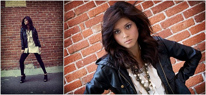 Stunning diptych of a dark haired girl posing outdoors - senior picture ideas