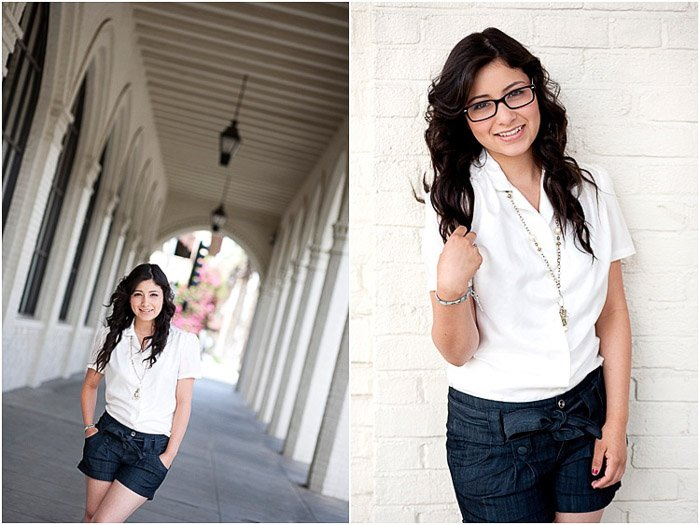 A senior photography diptych of a dark haired girl posing outdoors