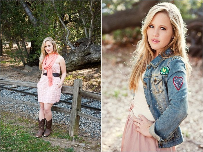 A bright and airy senior portrait diptych of a blonde girl posing casually outdoors