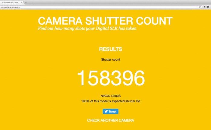 Screeshot of camera shutter count website