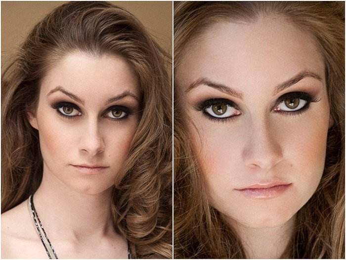 Sensual beauty photography diptych of close up portraits of a female model