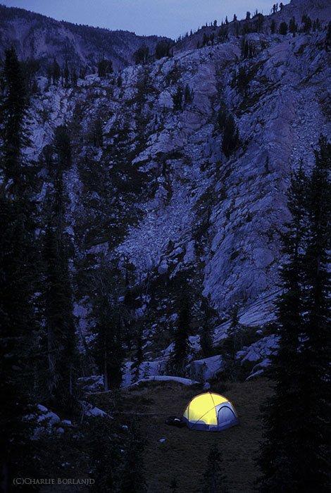 A photographers tent set up at Eagle Cap Wilderness, Oregon