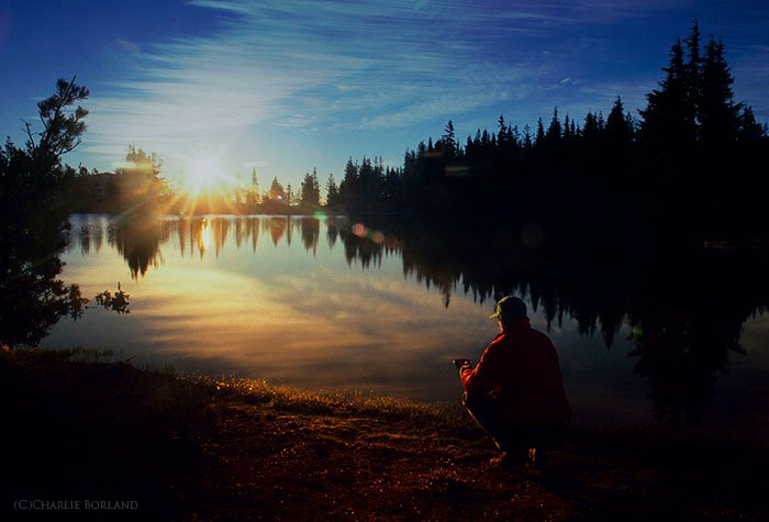 A photographer by the lakes at Three Sisters Wilderness, Oregon