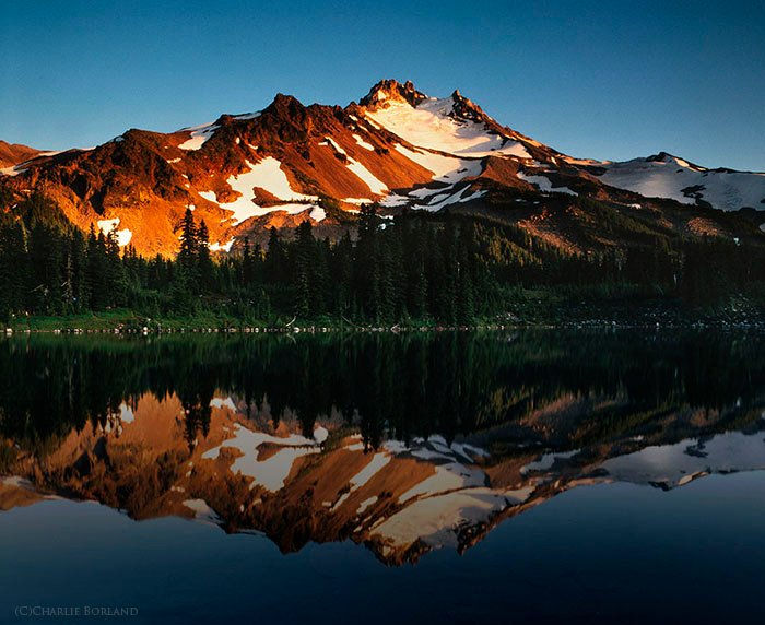 A solo adventure photography shot of Mt. Jefferson & Scout Lake, Oregon