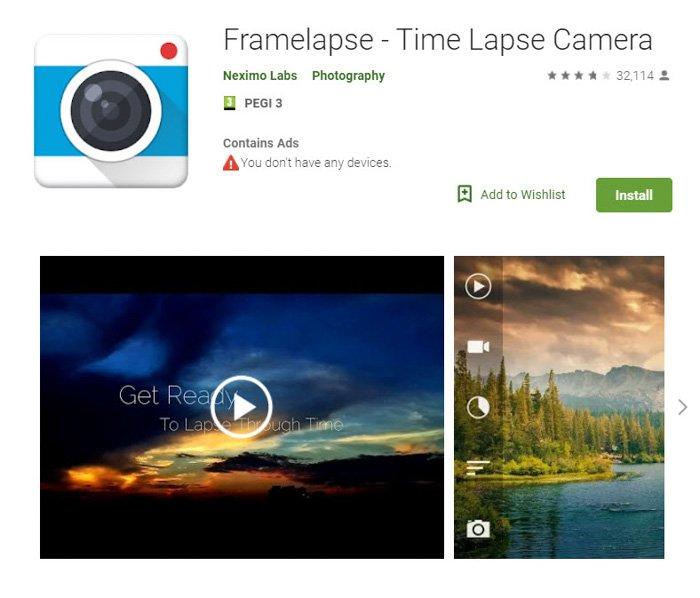 Screenshot of 'FrameLapse' time lapse app homepage
