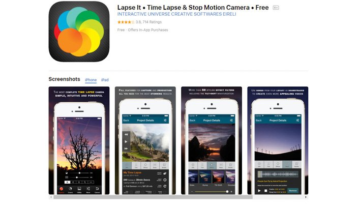 Screenshot of 'Lapse It' time-lapse app homepage