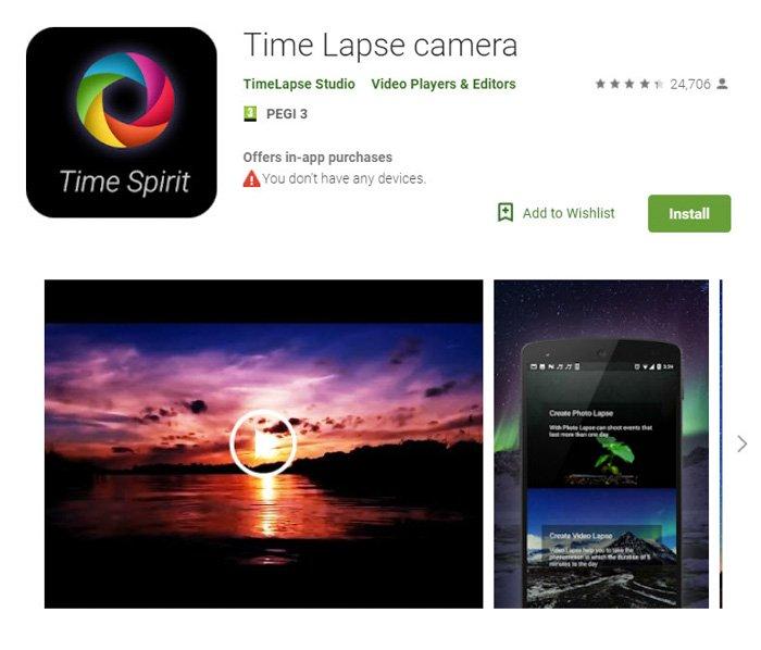 Screenshot of 'TimeLapse camera' app homepage