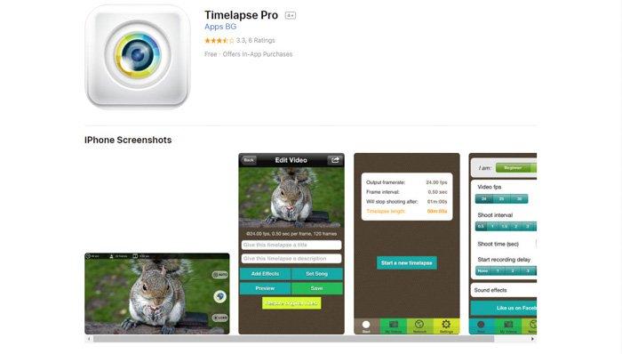 Screenshot of 'TimeLapse Pro' app homepage