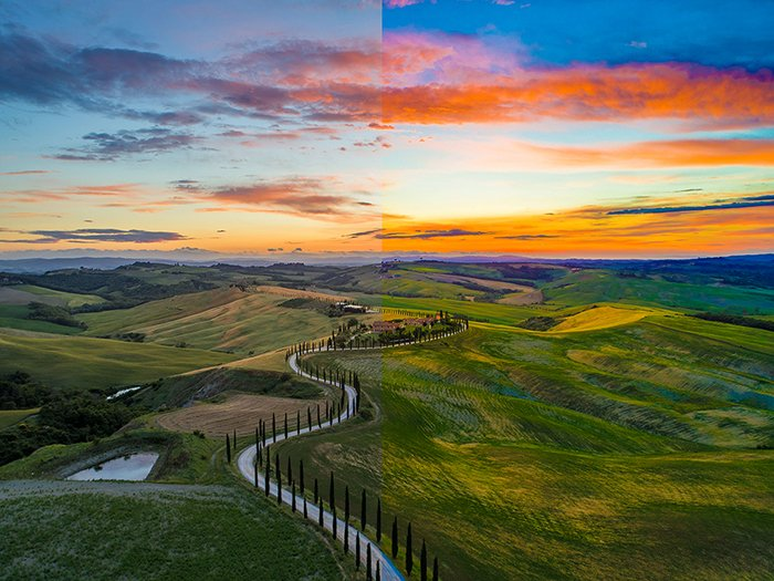 A stunning landscape divided in half to show the difference between using vibrance vs saturation