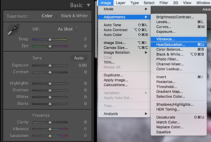 Screenshot of adjusting vibrance and saturation in Lightroom