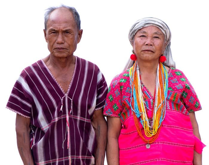 portrait of a Karen couple against a white photography background