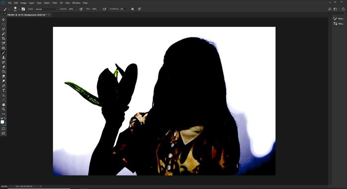 Screenshot of how to make background white in photoshop