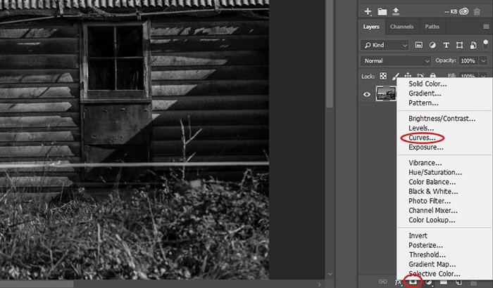 Screenshot of editing curves for Black and White Photography
