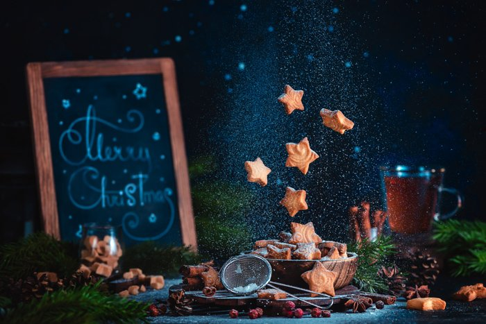 Cool Christmas photos still life of cookies levitating over a still life set up
