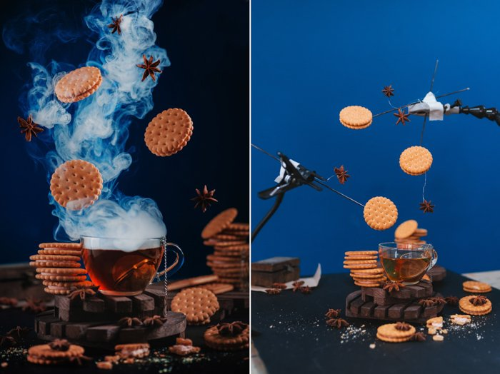 Diptych showing the setup for photographing levitating Christmas cookies photo