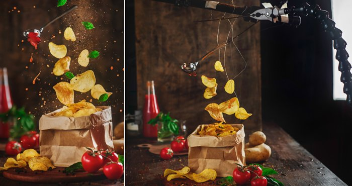 Diptych showing the setup for photographing levitating potato chips