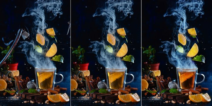 Levitating lemon slices and tea leaves triptych