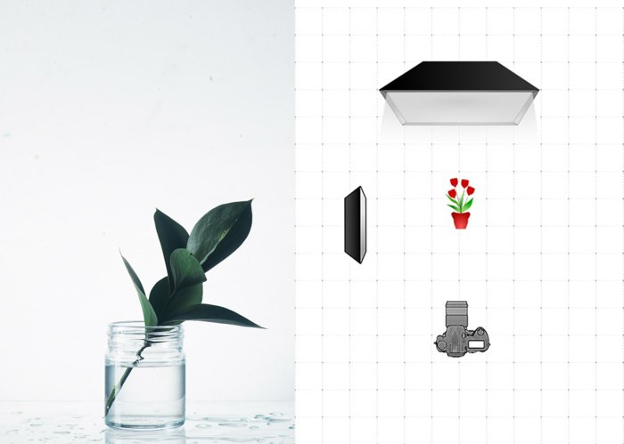 Diptych of a photo of a glass jar and a diagram explaining the glass photography lighting setting