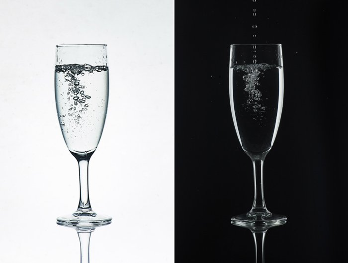 A glass photography diptych - a wineglass on white background and on black background