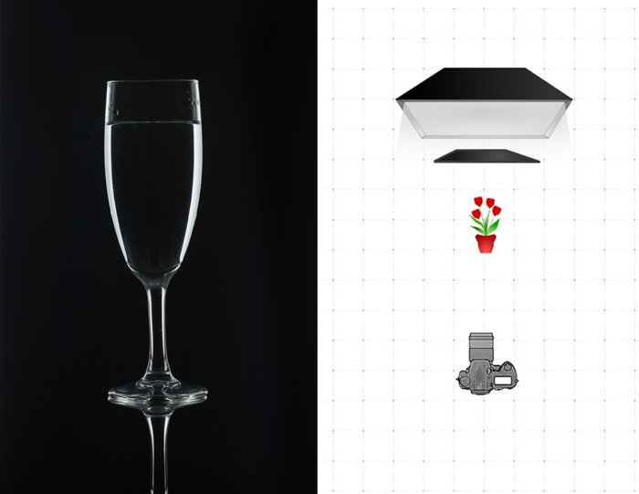 Diptych of a photo of a wineglass and a diagram explaining the glass photography lighting setting