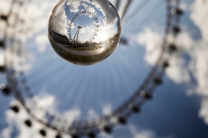 A photo of the London Eye uses a crystal ball.