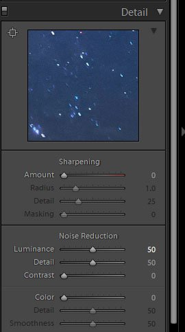 A screenshot of how to use noise reduction in Lightroom