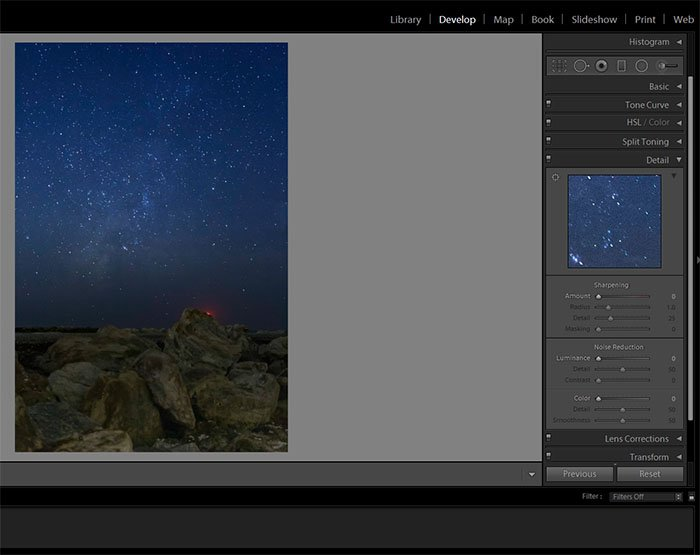 Screenshot of using the develop module in lightroom to reduce digital noise