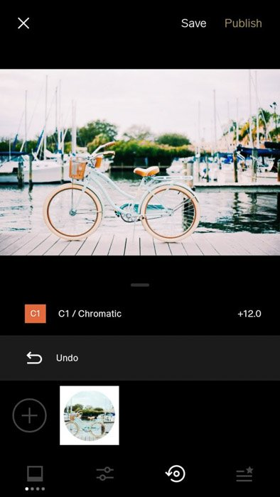 A screenshot of the VSCO filters app