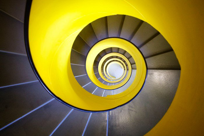 A colorful spiral staircase shot with a smartphone - best camera for architecture photography
