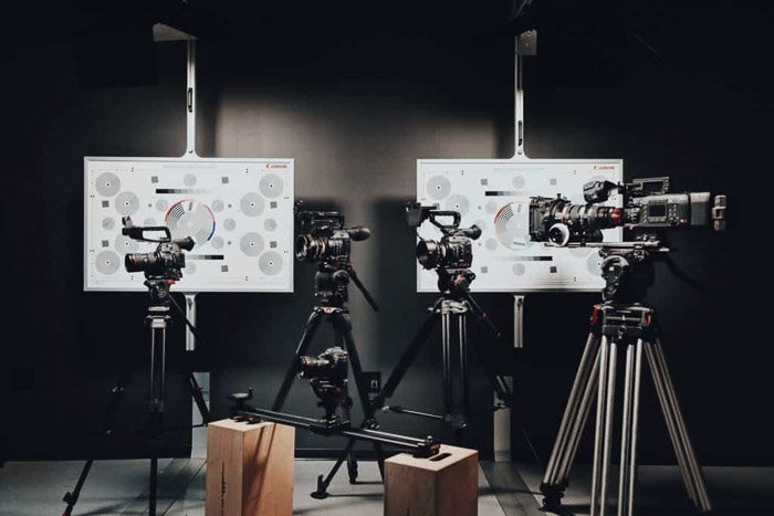 A range of best tripods and monopods in a studio setup