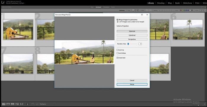A screenshot of how to create a brenizer method panorama