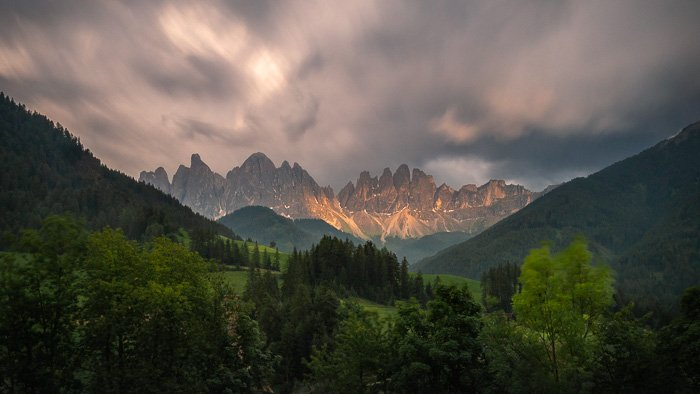 A stunning mountainous landscape two minutes exposure using bulb mode
