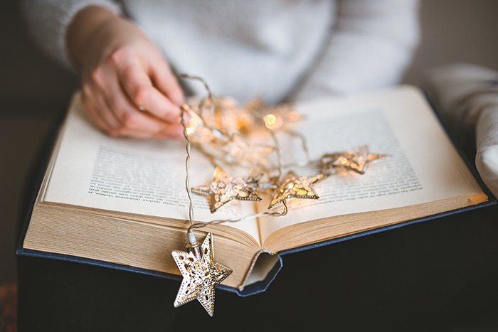 Christmas lights on a book