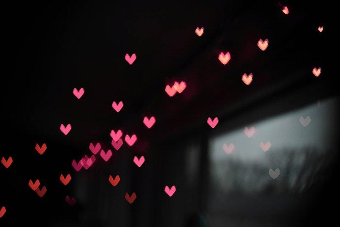 Heart shaped Christmas bokeh lights
