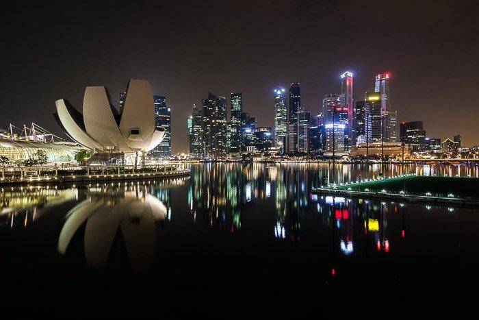 Singapore city skyline photography at night