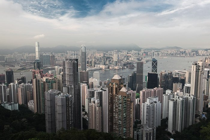 Hong Kong City Skylines shot from an aerial view