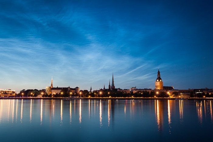 Riga City Skyline photography shot at blue hour