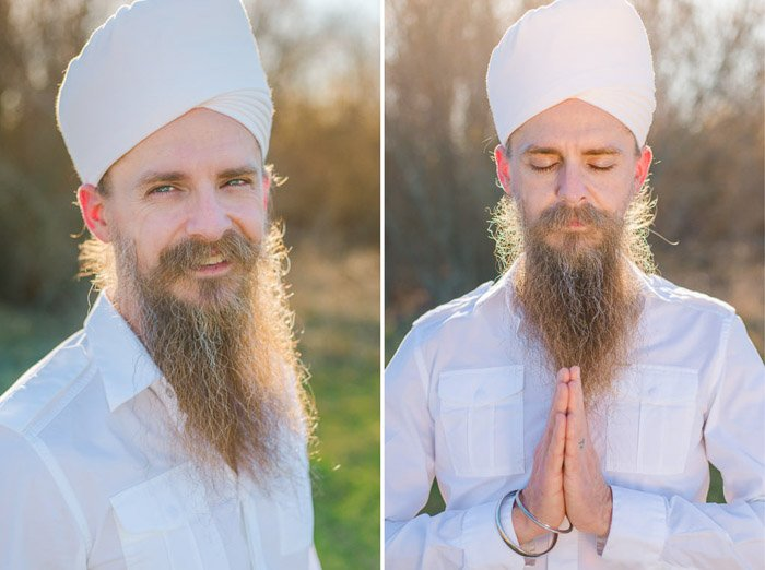 A diptych portrait of a man in white clothes and turban demonstrating different headshot poses