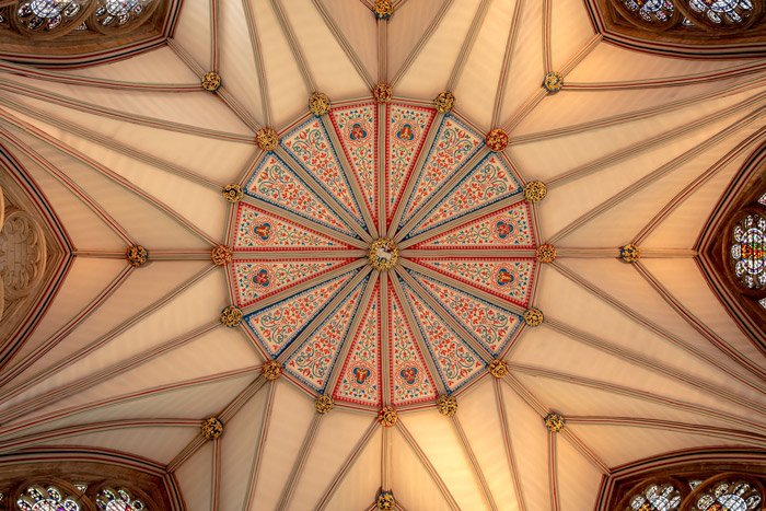 An abstract photography example taken looking up at a decorated roof