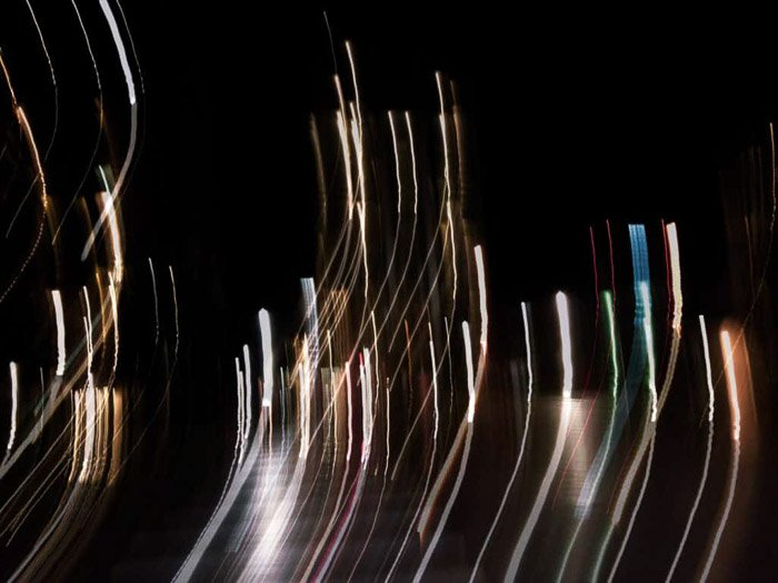 An iphone night photography shot featuring creative light trails