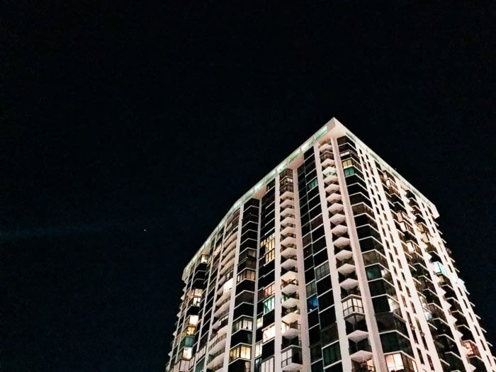 An architectural shot at night with an iPhone