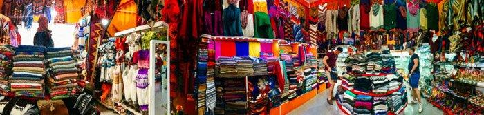 Colorful iPhone panoramas shot of an indoor fabric market